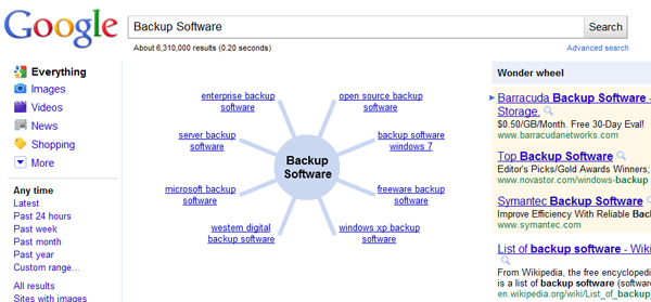 Google Wonder Wheel - Backup Software