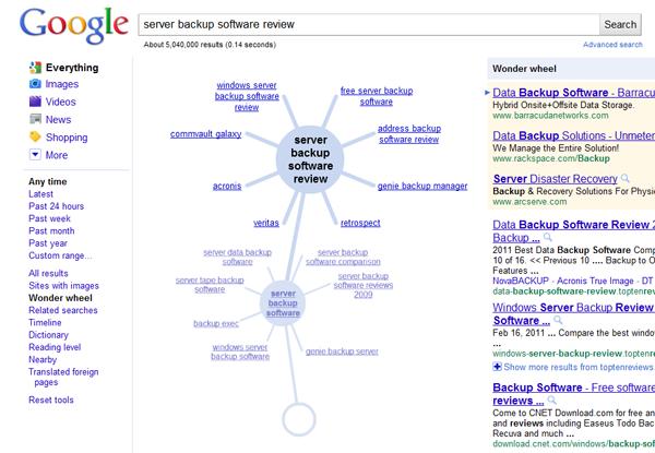 Google Wonder Wheel Server Backup Software Review